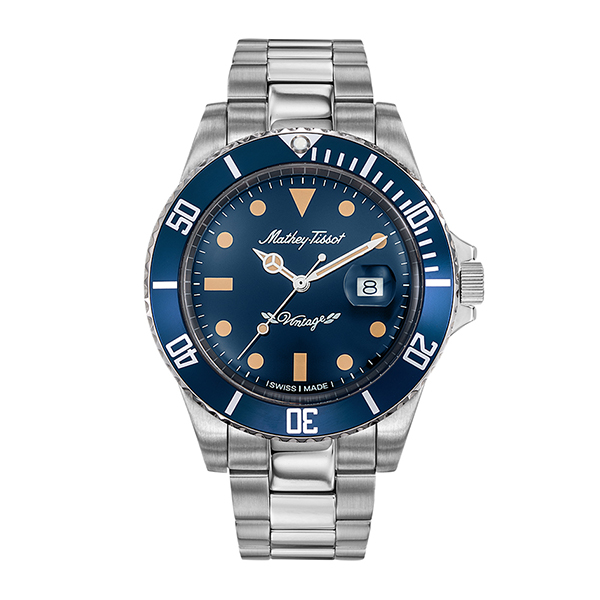 Mathey-Tissot Gent's Rolly Quartz with Stainless Steel Bracelet Blue