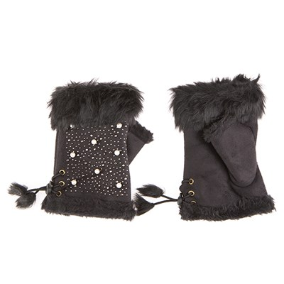 Faux Suede Embellished Fingerless Gloves