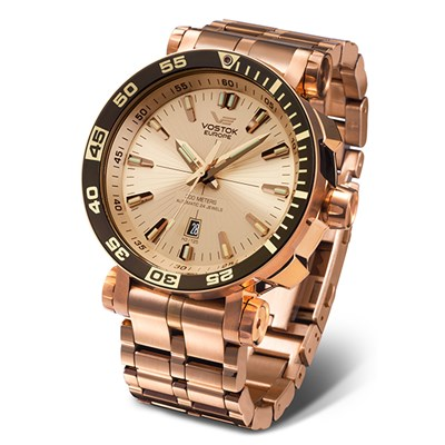Vostok Europe Gent's Rose Gold Energia Watch with Stainless Steel Bracelet