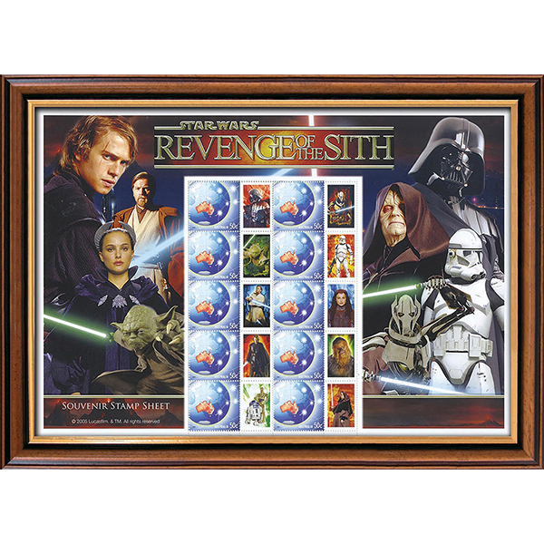 Star Wars Revenge of the Sith Framed Rare Australian Collectors Stamps Sheetlet No Colour