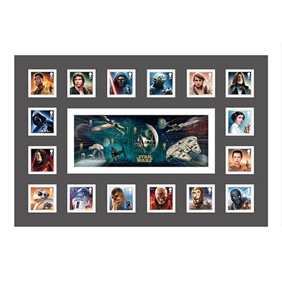 Star Wars IW Exclusive Framed 16 Key Characters & Mini Sheet GB Stamps Ltd Edition of 500 Only