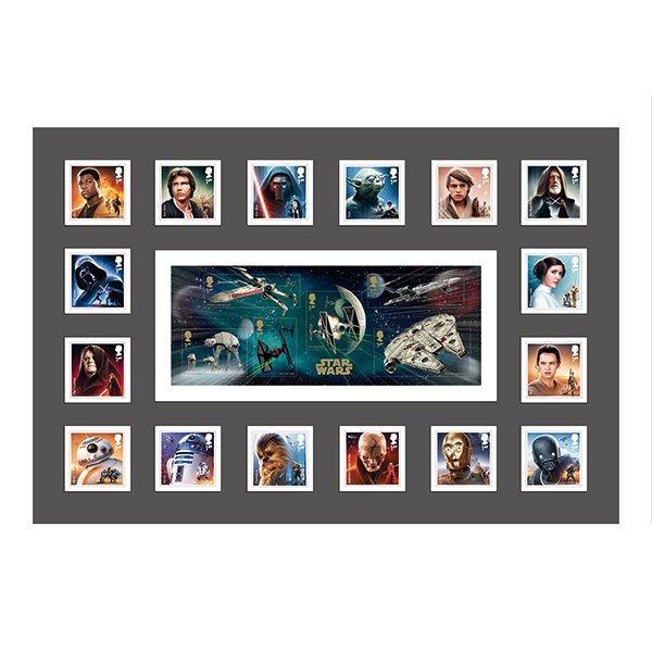 Star Wars IW Exclusive Framed 16 Key Characters & Mini Sheet GB Stamps Ltd Edition of 500 Only No Colour