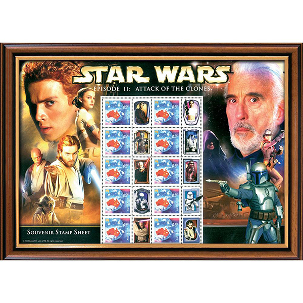 Star Wars Framed Attack of the Clones Rare Stamps Sheetlet No Colour