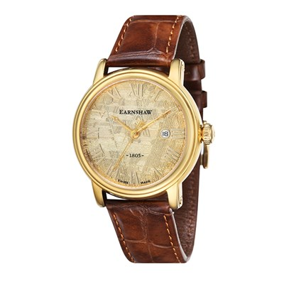 Thomas Earnshaw Gent's Meteorite Swiss Quartz Watch with Genuine Leather Strap
