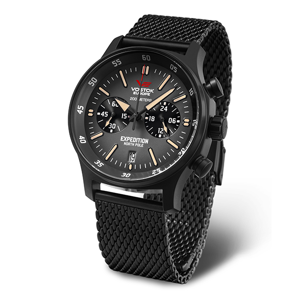 Vostok Europe Gent's Expedition N1 Chronograph Watch with PVD Case and Milanese Strap Black