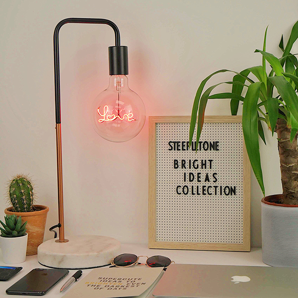 Steepletone Bright Ideas Collection LED Text Light Bulb with Lamp Stand Love