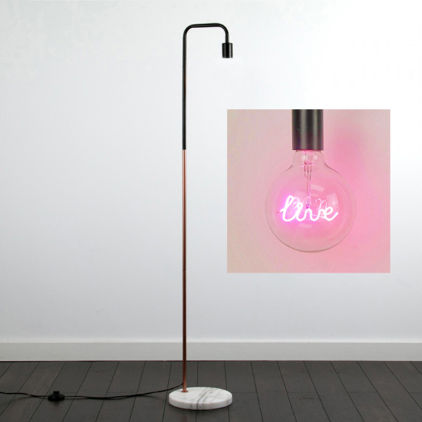 Steepletone Bright Ideas Collection LED Text Light Bulb with Floor Stand Live