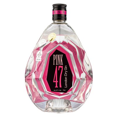 Pink 47 London Dry Gin in Diamond Bottle 70cl 47% ABV Old St Andrews with Bottle Lights