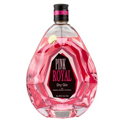 Pink 47 Royal Dry Gin with Raspberry, Blackberry & Cranberry 70cl 40% Old St Andrews with Bottle Lights