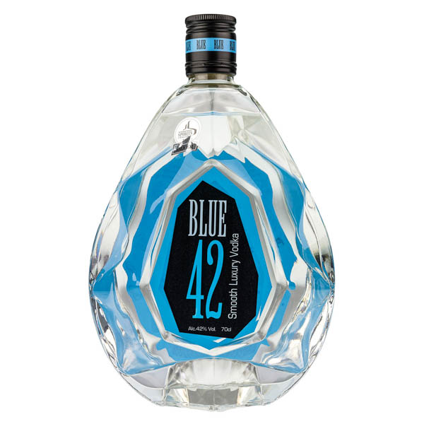 Blue 42 Luxury Smooth Vodka 70cl 42% Old St Andrews with Bottle Lights No Colour