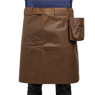 Crazy Horse Leather Half Apron in Brown