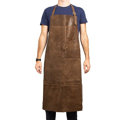 Crackle Full Leather Apron in Brown