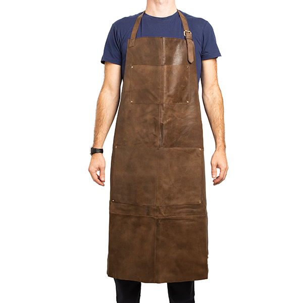 Crackle Full Leather Apron in Brown No Colour