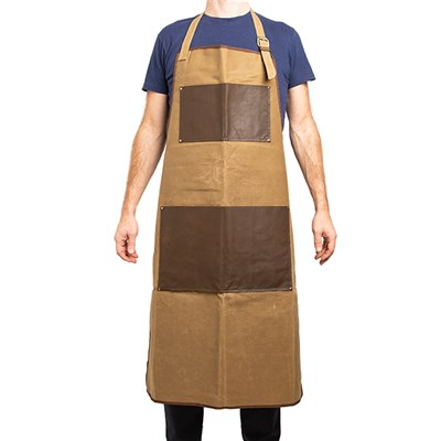 Canvas Leather Apron in Brown Waxy Tafta