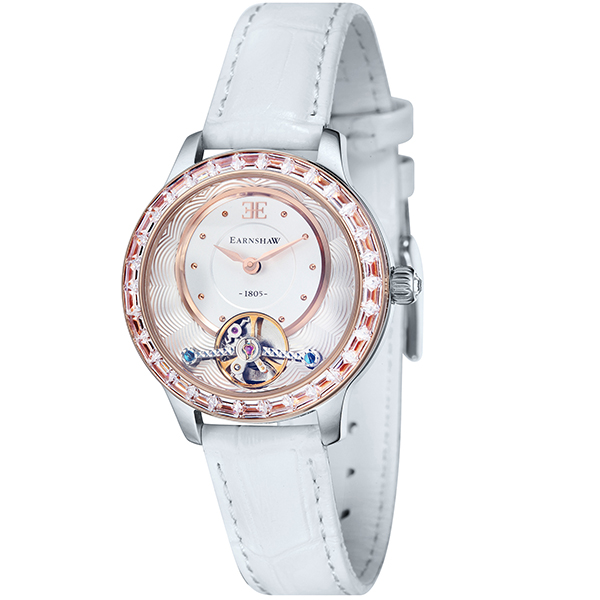 Thomas Earnshaw Lady Australis Automatic Watch with Genuine Leather Strap White