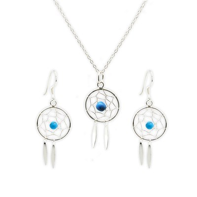 Boho Betty Boxed Sterling Silver Dreamcatcher Earring and Necklace Set