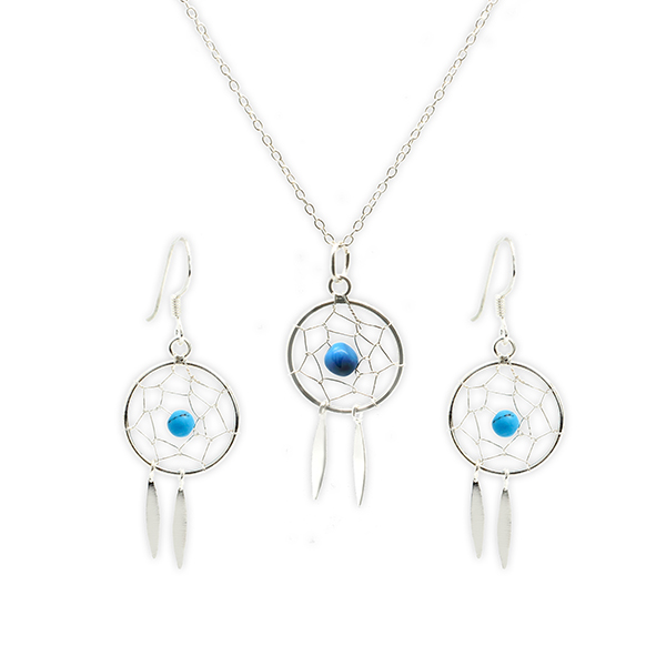 Boho Betty Boxed Sterling Silver Dreamcatcher Earring and Necklace Set No Colour