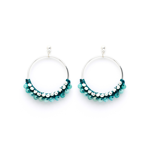 Boho Betty Boxed Alboka Beaded Hoop Earrings Teal