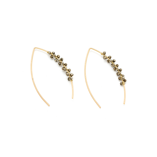 Boho Betty Boxed Cymbal Pull Through Earrings Gold