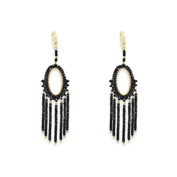Boho Betty Bansuri Crystal Drop Earrings Black