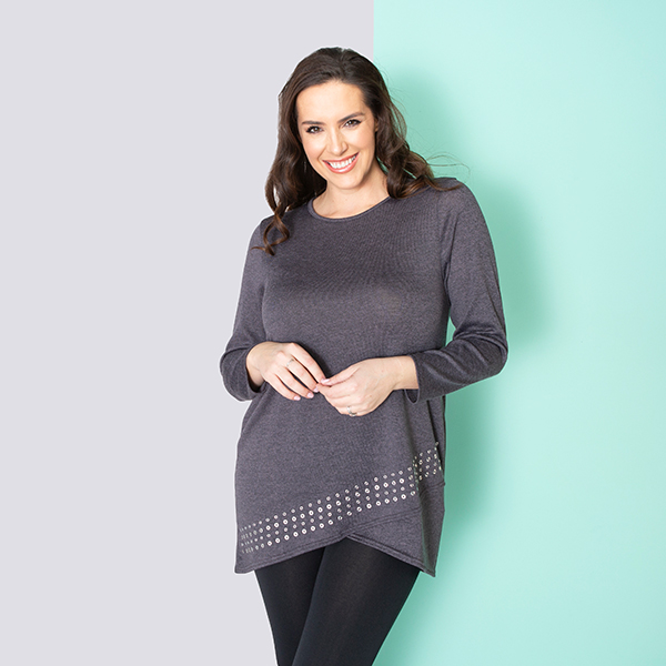 Indigo & Co Cut About Stud Tunic Grey