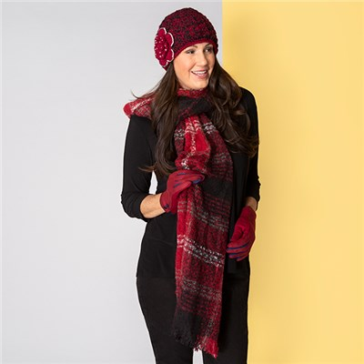 Red Applique Hat, Scarf and Glove Set