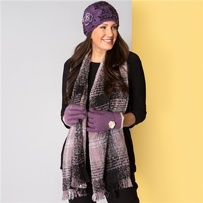 Purple Applique Hat, Scarf and Glove Set