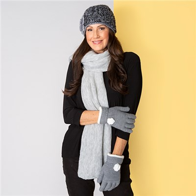 Grey Applique Hat, Scarf and Glove Set