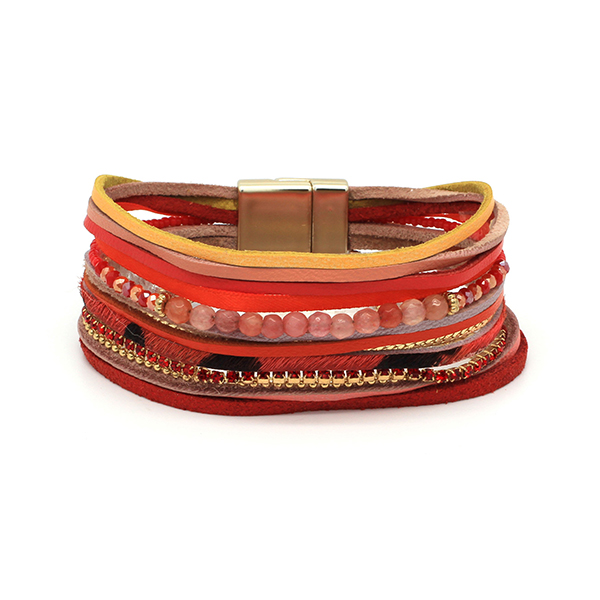 Boho Betty Tuko Leather Magnet Bracelet Red