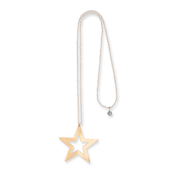 Boho Betty Durga Star Crystal Necklace Gold