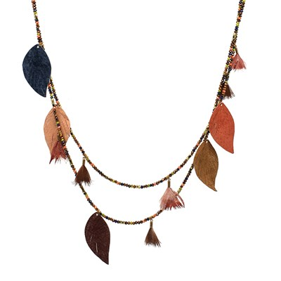 Boho Betty Manat Leather Multi Leaf Necklace