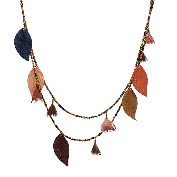 Boho Betty Manat Leather Multi Leaf Necklace Multi