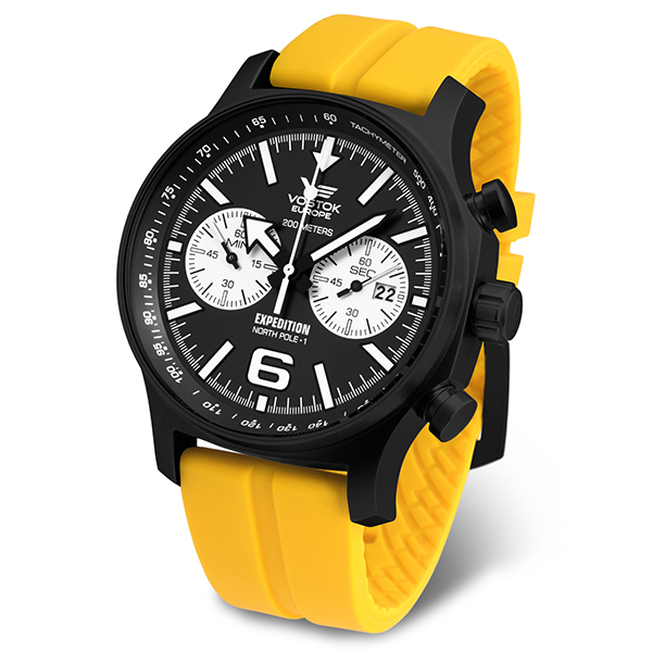 Vostok Europe Gent's Expedition N1 Chronograph Watch with Silicone Strap Yellow