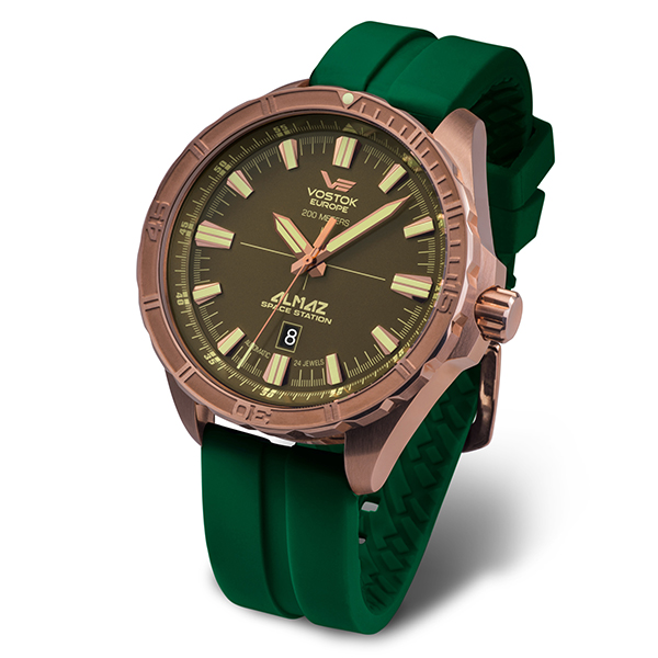 Vostok Europe Gent's Bronze Almaz Automatic Watch with Silicone Strap Green