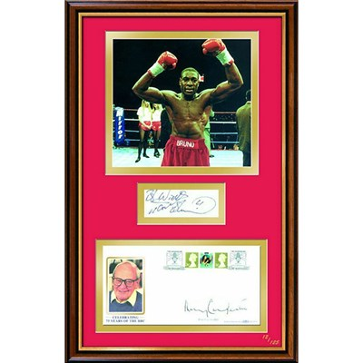 Frank Bruno & Harry Carpenter Personally Signed by Both Framed Photo & Cover Display