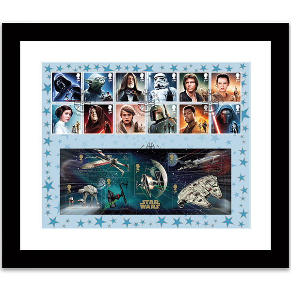 Star Wars Framed 12 Characters GB Star Wars Stamps & Stunning Mini Sheet No Colour