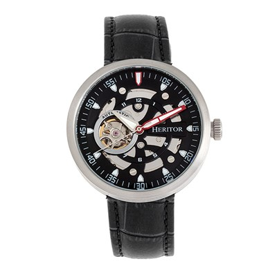 Heritor Gent's Automatic Jasper Watch with Genuine Leather Strap