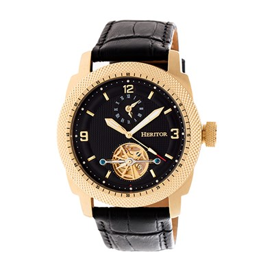 Heritor Gent's Automatic Helmsley Watch with Genuine Leather Strap