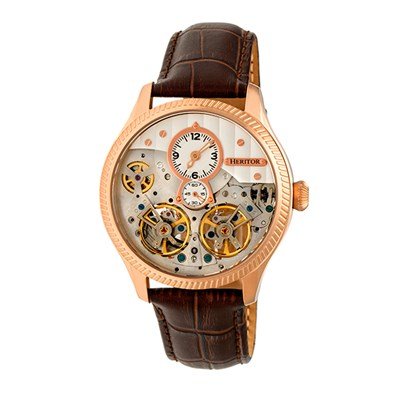 Heritor Gent's Automatic Winthrop Watch with Genuine Leather Strap