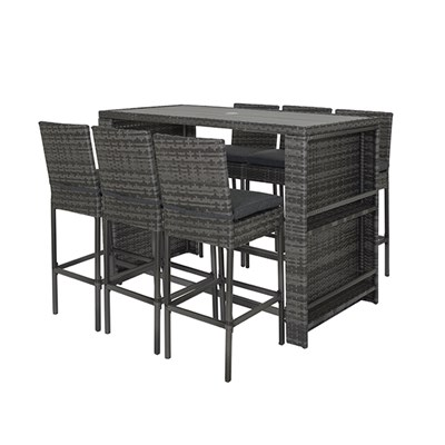 7pc Rattan Bar Set with Composite Table, Drinks Holder & Cover