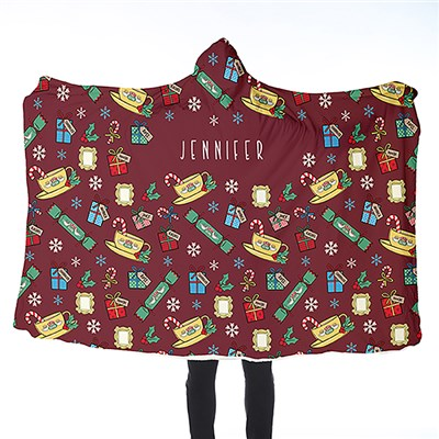 FRIENDS Adult Hooded Blanket Christmas