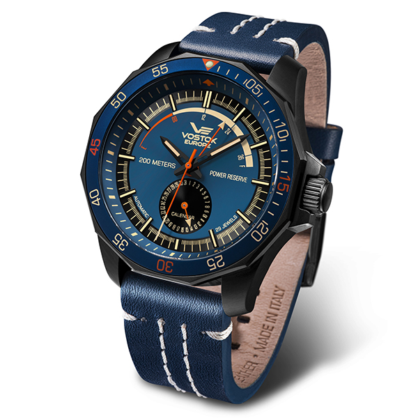 Vostok Europe Gent's Rocket N1 Black PVD Case Automatic Watch with Genuine Leather Strap Blue