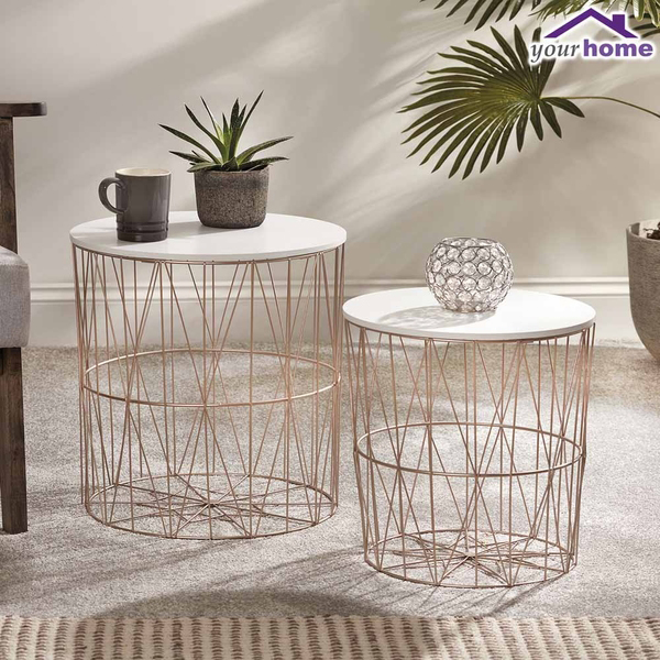 Your Home Set Of Two Coffee Tables Rose Gold 504511