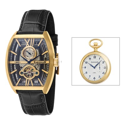 Thomas Earnshaw Gent's Holborn Skeleton Automatic Watch with Genuine Leather Strap and Gift