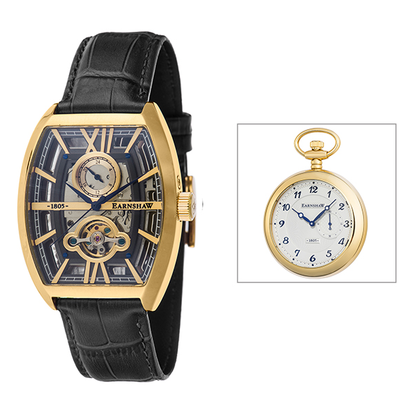 Thomas Earnshaw Gent's Holborn Skeleton Automatic Watch with Genuine Leather Strap and Gift Black/Gold