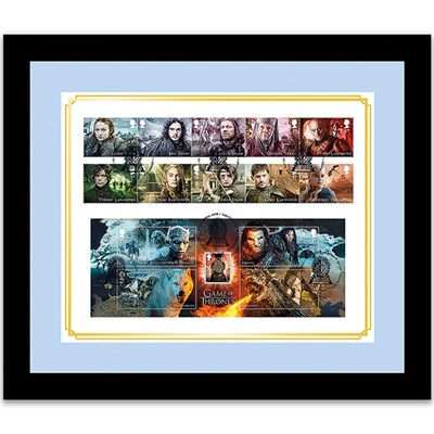 Game of Thrones Framed GB Stamps Set & Stunning Minsheet