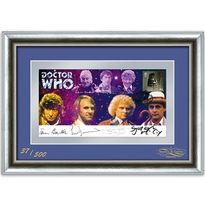 Dr Who Framed Celebration Cover Signed by 4 Different Doctors Ltd Edition