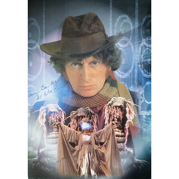 Tom Baker as Dr Who Personally Signed Colour Photo No Colour