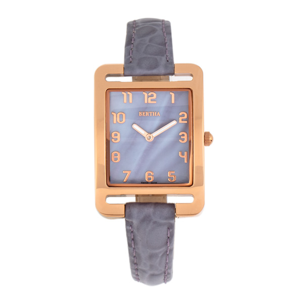 Bertha Ladies' Marisol Watch with Genuine Leather Strap Rose Gold