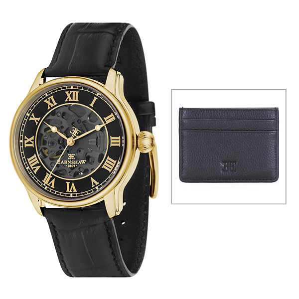 Thomas Earnshaw Gent's Longitude Automatic Watch with Genuine Leather Strap and Gift Black/Gold